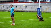 9 July 2020; Stuart McCloskey, left, and Ian Madigan during an Ulster Rugby squad training session at Kingspan Stadium in Belfast. Photo by Robyn McMurray for Ulster Rugby via Sportsfile