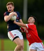9 July 2020; Stephen O'Quigley of Clontarf in action against Ciaran Murtagh of Fingallians during the Senior Football Club Challenge match between Fingallians and Clontarf at Lawless Memorial Park in Swords, Dublin. Photo by Stephen McCarthy/Sportsfile