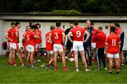 9 July 2020; Fingallians manager John Quinn speaks to his players at half-time during the Senior Football Club Challenge match between Fingallians and Clontarf at Lawless Memorial Park in Swords, Dublin. Photo by Stephen McCarthy/Sportsfile
