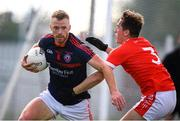 9 July 2020; Andy Foley of Clontarf and Daniel Lynch of Fingallians during the Senior Football Club Challenge match between Fingallians and Clontarf at Lawless Memorial Park in Swords, Dublin. Photo by Stephen McCarthy/Sportsfile