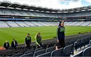 10 July 2020; In attendance, from right are, Orla King, Irish Life Marketing Programme manager, Aoife Riley, GAA Community and Health Administrator, Sean Finn, Irish Life CEO Declan Bulger and Uachtarán Chumann Lúthchleas Gael John Horan during the launch of the MyLife GAA Healthy Clubs Steps Challenge at Croke Park in Dublin. Photo by David Fitzgerald/Sportsfile