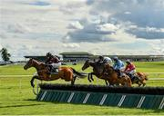 10 July 2020; Duke Of Waspington, left, with Jamie Moore up, jumps the second during the Follow Kilbeggan On Instagram (C & G) Maiden Hurdle DIV II at Kilbeggan Racecourse in Kilbeggan, Westmeath. Photo by Seb Daly/Sportsfile