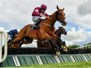 10 July 2020; Mengli Khan, with Luke Dempsey up, jumps the last on their way to winning the KilbegganRaces.com Hurdle at Kilbeggan Racecourse in Kilbeggan, Westmeath. Photo by Seb Daly/Sportsfile