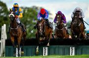 10 July 2020; Mindsmadeup, left, with Keith Donoghue up, jumps the last alongside eventual second place Kilkishen, centre, with Bryan Cooper up, and third place Our Boy Boru, right, with Eoin Walsh up, on their way to winning the Follow Kilbeggan On Twitter Handicap Hurdle at Kilbeggan Racecourse in Kilbeggan, Westmeath. Photo by Seb Daly/Sportsfile