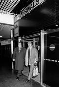 11 February 1986; Jack Charlton, accompanied by Joe Delaney, assistant honorary treasurer of the FAI, arrives at Dublin airport four days after his appointment as Republic of Ireland manager. Photo by Ray McManus/Sportsfile