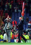 13 December 1995; Republic of Ireland manager Jack Charlton and assistant manager Maurice Setters say farewell to the irish supporters following the UEFA European Championship Group play-off match between Netherlands and Republic of Ireland at Anfield in Liverpool, England. Photo by David Maher/Sportsfile