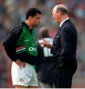 29 May 1994; Republic of Ireland manager Jack Charlton has a word with Paul McGrath during the International Friendly match between Republic of Ireland and Germany at Stuttgart in Germany. Photo by Ray McManus/Sportsfile
