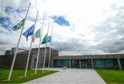11 July 2020; Flags are flown at half-mast outside the FAI Headquarters in Abbotstown, Dublin, as a mark of respect to the passing of former Republic of Ireland manager Jack Charlton, who lead the Republic of Ireland team to their first major finals at UEFA Euro 1988, and subsequently the FIFA World Cup 1990, in Italy, and the FIFA World Cup 1994, in USA. Photo by Stephen McCarthy/Sportsfile