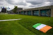 11 July 2020; A tribute is placed outside the FAI Headquarters in Abbotstown, Dublin, as a mark of respect to the passing of former Republic of Ireland manager Jack Charlton, who lead the Republic of Ireland team to their first major finals at UEFA Euro 1988, and subsequently the FIFA World Cup 1990, in Italy, and the FIFA World Cup 1994, in USA. Photo by Stephen McCarthy/Sportsfile