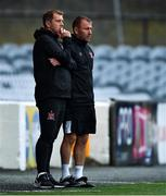 14 July 2020; Dundalk manager Vinny Perth, left, and assistant manager Alan Reynolds during a Club Friendly between Dundalk and Bohemians at Oriel Park in Dundalk, Louth. Photo by Ben McShane/Sportsfile
