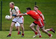 17 July 2020; Bryan Cullen of Kiltegan in action against Mick Byrne of Tinahely during the Wicklow County Senior Football Championship Round 1 match between Tinahely and Kiltegan at Baltinglass GAA Club in Baltinglass, Wicklow. Competitive GAA matches have been approved to return following the guidelines of Phase 3 of the Irish Government's Roadmap for Reopening of Society and Business and protocols set down by the GAA governing authorities. With games having been suspended since March, competitive games can take place with updated protocols including a limit of 200 individuals at any one outdoor event, including players, officials and a limited number of spectators, with social distancing, hand sanitisation and face masks being worn by those in attendance among other measures in an effort to contain the spread of the Coronavirus (COVID-19) pandemic. Photo by Matt Browne/Sportsfile