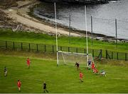 18 July 2020; A general view of action during the Donegal County Divisional League Division 1 Section B match between Kilcar and Killybegs at Towney Park in Kilcar, Donegal. Competitive GAA matches have been approved to return following the guidelines of Phase 3 of the Irish Government's Roadmap for Reopening of Society and Business and protocols set down by the GAA governing authorities. With games having been suspended since March, competitive games can take place with updated protocols including a limit of 200 individuals at any one outdoor event, including players, officials and a limited number of spectators, with social distancing, hand sanitisation and face masks being worn by those in attendance among other measures in an effort to contain the spread of the Coronavirus (COVID-19) pandemic. Photo by Seb Daly/Sportsfile