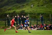 18 July 2020; Ryan McHugh of Kilcar in action against Jack McSharry of Killybegs during the Donegal County Divisional League Division 1 Section B match between Kilcar and Killybegs at Towney Park in Kilcar, Donegal. Competitive GAA matches have been approved to return following the guidelines of Phase 3 of the Irish Government's Roadmap for Reopening of Society and Business and protocols set down by the GAA governing authorities. With games having been suspended since March, competitive games can take place with updated protocols including a limit of 200 individuals at any one outdoor event, including players, officials and a limited number of spectators, with social distancing, hand sanitisation and face masks being worn by those in attendance among other measures in an effort to contain the spread of the Coronavirus (COVID-19) pandemic. Photo by Seb Daly/Sportsfile