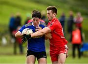 18 July 2020; Andrew McClean of Kilcar in action against Eoghan Bán Gallagher of Killybegs during the Donegal County Divisional League Division 1 Section B match between Kilcar and Killybegs at Towney Park in Kilcar, Donegal. Competitive GAA matches have been approved to return following the guidelines of Phase 3 of the Irish Government's Roadmap for Reopening of Society and Business and protocols set down by the GAA governing authorities. With games having been suspended since March, competitive games can take place with updated protocols including a limit of 200 individuals at any one outdoor event, including players, officials and a limited number of spectators, with social distancing, hand sanitisation and face masks being worn by those in attendance among other measures in an effort to contain the spread of the Coronavirus (COVID-19) pandemic. Photo by Seb Daly/Sportsfile