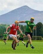 18 July 2020; Conor Cooney of Thomas Davis in action against Diarmuid O'Flionn of Cuala during the Dublin County Senior Hurling Championship Group 4 Round 1 match between Cuala and Thomas Davis at Bray Emmets GAA club in Bray, Wicklow. Competitive GAA matches have been approved to return following the guidelines of Phase 3 of the Irish Government's Roadmap for Reopening of Society and Business and protocols set down by the GAA governing authorities. With games having been suspended since March, competitive games can take place with updated protocols including a limit of 200 individuals at any one outdoor event, including players, officials and a limited number of spectators, with social distancing, hand sanitisation and face masks being worn by those in attendance among other measures in an effort to contain the spread of the Coronavirus (COVID-19) pandemic. Photo by Ramsey Cardy/Sportsfile
