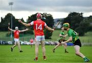 18 July 2020; Con O'Callaghan appeals to the referee for a foul, which was not given, before play continued during the Dublin County Senior Hurling Championship Group 4 Round 1 match between Cuala and Thomas Davis at Bray Emmets GAA club in Bray, Wicklow. Competitive GAA matches have been approved to return following the guidelines of Phase 3 of the Irish Government's Roadmap for Reopening of Society and Business and protocols set down by the GAA governing authorities. With games having been suspended since March, competitive games can take place with updated protocols including a limit of 200 individuals at any one outdoor event, including players, officials and a limited number of spectators, with social distancing, hand sanitisation and face masks being worn by those in attendance among other measures in an effort to contain the spread of the Coronavirus (COVID-19) pandemic. Photo by Ramsey Cardy/Sportsfile