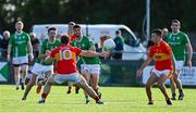 18 July 2020; Aidan O'Sullivan of The Neale in action against David Joyce of Castlebar Mitchels during the Michael Walsh Secondary Senior Football League Group 4 Round 1 match between The Neale and Castlebar Mitchels at Pairc Naomh Feichin in Cong, Mayo. Competitive GAA matches have been approved to return following the guidelines of Phase 3 of the Irish Government's Roadmap for Reopening of Society and Business and protocols set down by the GAA governing authorities. With games having been suspended since March, competitive games can take place with updated protocols including a limit of 200 individuals at any one outdoor event, including players, officials and a limited number of spectators, with social distancing, hand sanitisation and face masks being worn by those in attendance among other measures in an effort to contain the spread of the Coronavirus (COVID-19) pandemic. Photo by Brendan Moran/Sportsfile