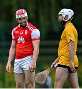 18 July 2020; Con O'Callaghan of Cuala reacts after Thomas Davis goalkeeper Jack Blanchfield kicked away his hurl during the Dublin County Senior Hurling Championship Group 4 Round 1 match between Cuala and Thomas Davis at Bray Emmets GAA club in Bray, Wicklow. Competitive GAA matches have been approved to return following the guidelines of Phase 3 of the Irish Government's Roadmap for Reopening of Society and Business and protocols set down by the GAA governing authorities. With games having been suspended since March, competitive games can take place with updated protocols including a limit of 200 individuals at any one outdoor event, including players, officials and a limited number of spectators, with social distancing, hand sanitisation and face masks being worn by those in attendance among other measures in an effort to contain the spread of the Coronavirus (COVID-19) pandemic. Photo by Ramsey Cardy/Sportsfile