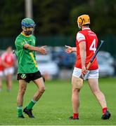 18 July 2020; Zak Moradi of Thomas Davis and Oisin Gough of Cuala following the Dublin County Senior Hurling Championship Group 4 Round 1 match between Cuala and Thomas Davis at Bray Emmets GAA club in Bray, Wicklow. Competitive GAA matches have been approved to return following the guidelines of Phase 3 of the Irish Government's Roadmap for Reopening of Society and Business and protocols set down by the GAA governing authorities. With games having been suspended since March, competitive games can take place with updated protocols including a limit of 200 individuals at any one outdoor event, including players, officials and a limited number of spectators, with social distancing, hand sanitisation and face masks being worn by those in attendance among other measures in an effort to contain the spread of the Coronavirus (COVID-19) pandemic. Photo by Ramsey Cardy/Sportsfile