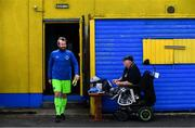 "19 July 2020; Bluebell United goalkeeper Andy ""The Bear"" Nulty shares a joke with Bluebell United Treasurer Davey Farrell prior to the Leinster Senior League Senior Sunday Division match between Bluebell United and Ballymun United at Capco Park in Bluebell, Dublin. Photo by Sam Barnes/Sportsfile"