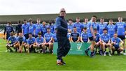17 July 2020; The St Joseph's SS manager Luke Dempsey organises the squad for their team photograph before the Leinster GAA Colleges Senior A Football Final match between Naas CBS and St Joseph's SS, Rochfortbridge at Bord na Móna O'Connor Park in Tullamore, Offaly. Competitive GAA matches have been approved to return following the guidelines of Phase 3 of the Irish Government's Roadmap for Reopening of Society and Business and protocols set down by the GAA governing authorities. With games having been suspended since March, competitive games can take place with updated protocols including a limit of 200 individuals at any one outdoor event, including players, officials and a limited number of spectators, with social distancing, hand sanitisation and face masks being worn by those in attendance among other measures in an effort to contain the spread of the Coronavirus (COVID-19) pandemic. Photo by Piaras Ó Mídheach/Sportsfile