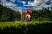 19 July 2020; Eddie Doyle of Rathnew runs on to the training pitch ahead of the Wicklow County Senior Football Championship Round 1 match between Rathnew and Bray at Joule Park in Aughrim, Wicklow. Competitive GAA matches have been approved to return following the guidelines of Phase 3 of the Irish Government's Roadmap for Reopening of Society and Business and protocols set down by the GAA governing authorities. With games having been suspended since March, competitive games can take place with updated protocols including a limit of 200 individuals at any one outdoor event, including players, officials and a limited number of spectators, with social distancing, hand sanitisation and face masks being worn by those in attendance among other measures in an effort to contain the spread of the Coronavirus (COVID-19) pandemic. Photo by David Fitzgerald/Sportsfile