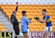 17 July 2020; Alex Beirne of Naas CBS is shown the red card by referee Patrick Coyle during the Leinster GAA Colleges Senior A Football Final match between Naas CBS and St Joseph's SS, Rochfortbridge at Bord na Móna O'Connor Park in Tullamore, Offaly. Competitive GAA matches have been approved to return following the guidelines of Phase 3 of the Irish Government's Roadmap for Reopening of Society and Business and protocols set down by the GAA governing authorities. With games having been suspended since March, competitive games can take place with updated protocols including a limit of 200 individuals at any one outdoor event, including players, officials and a limited number of spectators, with social distancing, hand sanitisation and face masks being worn by those in attendance among other measures in an effort to contain the spread of the Coronavirus (COVID-19) pandemic. Photo by Piaras Ó Mídheach/Sportsfile