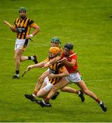 18 July 2020; Simon Donohoe of Shelmaliers is challenged by Lenny Connolly of Rapparees-Starlights during the Wexford County Senior Hurling Championship Group D Round 1 match between Rapparees-Starlights and Shelmaliers at Chadwicks Wexford Park in Wexford. Competitive GAA matches have been approved to return following the guidelines of Phase 3 of the Irish Government's Roadmap for Reopening of Society and Business and protocols set down by the GAA governing authorities. With games having been suspended since March, competitive games can take place with updated protocols including a limit of 200 individuals at any one outdoor event, including players, officials and a limited number of spectators, with social distancing, hand sanitisation and face masks being worn by those in attendance among other measures in an effort to contain the spread of the Coronavirus (COVID-19) pandemic. Photo by Sam Barnes/Sportsfile