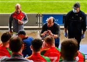 18 July 2020; Rapparees-Starlights manager Adrian Fenlon gives a half-time team talk during the Wexford County Senior Hurling Championship Group D Round 1 match between Rapparees-Starlights and Shelmaliers at Chadwicks Wexford Park in Wexford. Competitive GAA matches have been approved to return following the guidelines of Phase 3 of the Irish Government's Roadmap for Reopening of Society and Business and protocols set down by the GAA governing authorities. With games having been suspended since March, competitive games can take place with updated protocols including a limit of 200 individuals at any one outdoor event, including players, officials and a limited number of spectators, with social distancing, hand sanitisation and face masks being worn by those in attendance among other measures in an effort to contain the spread of the Coronavirus (COVID-19) pandemic. Photo by Sam Barnes/Sportsfile