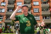 21 July 2020; Republic of Ireland supporter Davy Keogh at Iveagh Trust Kevin Street in Dublin, remembers Jack Charlton on the day of his funeral in Newcastle, England. The former Republic of Ireland manager Jack Charlton lead the Republic of Ireland team to their first major finals at UEFA Euro 1988, and subsequently the FIFA World Cup 1990, in Italy, and the FIFA World Cup 1994, in USA.  Photo by Stephen McCarthy/Sportsfile