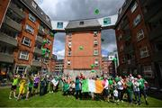 21 July 2020; Residents of Iveagh Trust Kevin Street in Dublin, release ballons to remember Jack Charlton on the day of his funeral in Newcastle, England. The former Republic of Ireland manager Jack Charlton lead the Republic of Ireland team to their first major finals at UEFA Euro 1988, and subsequently the FIFA World Cup 1990, in Italy, and the FIFA World Cup 1994, in USA. Photo by Stephen McCarthy/Sportsfile