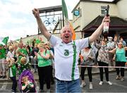 21 July 2020; Republic of Ireland supporters gather at the Walkinstown Roundabout in Dublin to celebrate the life of Jack Charlton on the day of his funeral in Newcastle, England. The former Republic of Ireland manager Jack Charlton lead the Republic of Ireland team to their first major finals at UEFA Euro 1988, and subsequently the FIFA World Cup 1990, in Italy, and the FIFA World Cup 1994, in USA. Photo by Seb Daly/Sportsfile
