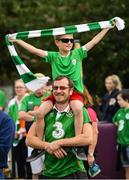 21 July 2020; Republic of Ireland supporters Steven, age 8, and Eoin Best, from Walkinstown, gathered alongside fellow supporters at the Walkinstown Roundabout in Dublin to celebrate the life of Jack Charlton on the day of his funeral in Newcastle, England. The former Republic of Ireland manager Jack Charlton lead the Republic of Ireland team to their first major finals at UEFA Euro 1988, and subsequently the FIFA World Cup 1990, in Italy, and the FIFA World Cup 1994, in USA. Photo by Seb Daly/Sportsfile
