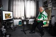 21 July 2020; Former Republic of Ireland squad kit manager Charlie O'Leary watches the broadcast of Jack Charlton's funeral service, in West Road Crematorium, at his home in Dublin. The former Republic of Ireland manager Jack Charlton lead the Republic of Ireland team to their first major finals at UEFA Euro 1988, and subsequently the FIFA World Cup 1990, in Italy, and the FIFA World Cup 1994, in USA.  Photo by Ray McManus/Sportsfile