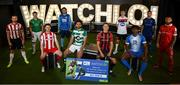 22 July 2020; SSE Airtricity League Premier Division players, from left, Conor Clifford of Derry City, Daire O'Connor of Cork City, Johnny Dunleavy of Sligo Rovers, Brendan Clarke of St Patrick's Athletic, Roberto Lopes of Shamrock Rovers, Keith Buckley of Bohemians, Daniel Kelly of Dundalk, Benny Igiehon of Finn Harps, Robbie McCourt of Waterford and Gary Deegan of Shelbourne at the launch of WATCHLOI, the SSE Airtricity League's new streaming platform, at Fuel Studios on Camden Street, Dublin. It is the league's first-ever streaming service which will deliver SSE Airtricity League Premier Division football to all supporters in Ireland and around the world. The Football Association of Ireland and RTE Sport, in collaboration with GAAGO, have partnered to deliver a world class streaming platform which will guarantee supporters can watch the #GreatestLeagueInTheWorld wherever they are on watchloi.ie. Photo by Stephen McCarthy/Sportsfile