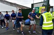 23 July 2020; Mark Carmody of Patrickswell, centre right, and team-mates have their tickets checked on arrival by Steward Dave McGuinness  ahead of the Limerick County Senior Hurling Championship Round 1 match between Patrickswell and Adare at LIT Gaelic Grounds in Limerick. Competitive GAA matches have been approved to return following the guidelines of Phase 3 of the Irish Government's Roadmap for Reopening of Society and Business and protocols set down by the GAA governing authorities. With games having been suspended since March, competitive games can take place with updated protocols including a limit of 200 individuals at any one outdoor event, including players, officials and a limited number of spectators, with social distancing, hand sanitisation and face masks being worn by those in attendance among other measures in an effort to contain the spread of the Coronavirus (COVID-19). Photo by Sam Barnes/Sportsfile