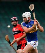 23 July 2020; Aaron Gillane of Patrickswell shoots to score his side's second goal during the Limerick County Senior Hurling Championship Round 1 match between Patrickswell and Adare at LIT Gaelic Grounds in Limerick. Competitive GAA matches have been approved to return following the guidelines of Phase 3 of the Irish Government's Roadmap for Reopening of Society and Business and protocols set down by the GAA governing authorities. With games having been suspended since March, competitive games can take place with updated protocols including a limit of 200 individuals at any one outdoor event, including players, officials and a limited number of spectators, with social distancing, hand sanitisation and face masks being worn by those in attendance among other measures in an effort to contain the spread of the Coronavirus (COVID-19). Photo by Sam Barnes/Sportsfile