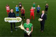 24 July 2020; Ahead of 2020 season kicking off, the Women's National League confirmed Barretstown as its first ever charity partner. With captains from the nine clubs represented at a photocall, the Irish charity which caters for children with serious illness will be officially endorsed by the League for the upcoming campaign. Barretstown Corporate Fundraising Manager Kevin Dempsey, left, and League of Ireland Director Mark Scanlon, right, with, from left, Treaty United captain Marie Curtin, DLR Waves captain Catherine Cronin, Galway WFC captain Keara Cormican, Bohemians captain Niamh Kenna, Peamount United vice-captain Eleanor Ryan-Doyle, Shelbourne captain Pearl Slattery, Cork City captain Maria O'Sullivan, Athlone Town captain Paula Doran and Wexford Youths captain Kylie Murphy in attendance during the announement at FAI Headquarters in Abbotstown, Dublin. Photo by Stephen McCarthy/Sportsfile