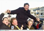 11 January 2004; Winning trainer Charles Byrnes is held aloft after Dromlease Express, with John Allen up, won the Pierse Hurdle, Leopardstown Racecourse, Dublin. Picture credit; Pat Murphy / SPORTSFILE *EDI*