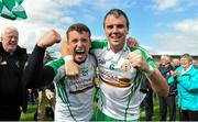 30 June 2013; Sean Kelly, left, and Shane Mulligan, London, celebrate victory after the game. Connacht GAA Football Senior Championship, Semi-Final Replay, Leitrim v London, Hyde Park, Roscommon. Picture credit: Barry Cregg / SPORTSFILE