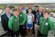 2 July 2013; In attendance at the Waterways Ireland triAthlone and Elite Junior European Cup official launch are, from left to right, Councillor Alan Shaw, elite junior athlete Kieran Jackson, Triathlon Ireland CEO Chris Kitchen, elite junior athletes Aichlinn O'Reilly, Harry Speers, (front) and Aaron O'Brien, Inspector of Navigation with Waterways Ireland Charlie Lawn, TriAthlone Chairman Liam Heavin, and elite junior athlete Constantine Doherty. Sheraton Athlone, Athlone, Co. Westmeath. Picture credit: Diarmuid Greene / SPORTSFILE