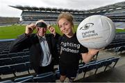 2 July 2013; The Irish patient-led charity Fighting Blindness has been selected as one of the five official GAA charities for 2013 and a full programme of activity for the season as charity partner was launched today, Tuesday 2nd July 2013, at Croke Park with guest of honour Páraic Duffy, GAA director general in attendance. Players past and present, including Barney Rock, Dublin, Pat Fox, Tipperary, Eoghan O'Flaherty, Kildare, Aindreas Doyle, Wexford, and Sinead Finnegan, Dublin, also lent  their support on the day and participated in a blindfold hurling and football challenge. The programme of activity will include Fighting Blindness Sundays at Croke Park, All-Ireland ticket draws, a Gaelic Writers' Association Quiz, and an FBD Kilmacud Crokes Football 7s Charity Game. For further information, visit www.fightingblindness.ie. At the launch are Dublin ladies footballer Sinéad Finnegan and former Dublin footballer Barney Rock. Croke Park, Dublin. Picture credit: Brian Lawless / SPORTSFILE