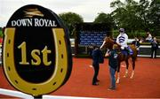 24 July 2020; Jockey Shane Kelly is led into the winners enclosure and met by trainer Johnny Murtagh, left, after winning the BoyleSports Ulster Derby on Red Kelly at Down Royal Racecourse in Lisburn, Down. Racing remains behind closed doors to the public under guidelines of the Irish Government in an effort to contain the spread of the Coronavirus (COVID-19) pandemic. Photo by Seb Daly/Sportsfile