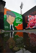 24 July 2020; A mural featuring the late Jack Charlton outside Dalymount Park, ahead of the club friendly match between Bohemians and Longford Town at Dalymount Park in Dublin. Soccer matches continue to take place in front of a limited number of people in an effort to contain the spread of the coronavirus (Covid-19) pandemic. Photo by Ramsey Cardy/Sportsfile