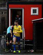 24 July 2020; Joe Gorman of Longford Town has his studs checked by an official after leaving the dressing room ahead of the club friendly match between Bohemians and Longford Town at Dalymount Park in Dublin. Soccer matches continue to take place in front of a limited number of people in an effort to contain the spread of the coronavirus (Covid-19) pandemic. Photo by Ramsey Cardy/Sportsfile