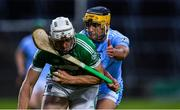 24 July 2020; Kevin O'Donnell of Kilmallock is tackled by Thomas Grimes of Na Piarsaigh during the Limerick County Senior Hurling Championship Round 1 match between Kilmallock and Na Piarsaigh at LIT Gaelic Grounds in Limerick. GAA matches continue to take place in front of a limited number of people in an effort to contain the spread of the coronavirus (Covid-19) pandemic. Photo by Piaras Ó Mídheach/Sportsfile