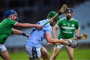 24 July 2020; Mike Foley of Na Piarsaigh in action against Gavin O'Mahony of Kilmallock during the Limerick County Senior Hurling Championship Round 1 match between Kilmallock and Na Piarsaigh at LIT Gaelic Grounds in Limerick. GAA matches continue to take place in front of a limited number of people in an effort to contain the spread of the coronavirus (Covid-19) pandemic. Photo by Piaras Ó Mídheach/Sportsfile