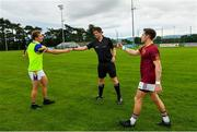 25 July 2020; Referee Liam Aherne Clarke with team captains Ciaran Kilkenny of Castleknock, left, and Sean O'Connor of St Oliver Plunkett Eoghan Ruadh prior to the Dublin County Senior Football Championship Round 1 match between Castleknock and St Oliver Plunkett Eoghan Ruadh at Somerton Park in Castleknock, Dublin. GAA matches continue to take place in front of a limited number of people in an effort to contain the spread of the Coronavirus (COVID-19) pandemic. Photo by Seb Daly/Sportsfile