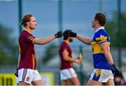 25 July 2020; Niall Walsh of St Oliver Plunkett Eoghan Ruadh, left, and Ciaran Kilkenny of Castleknock following the Dublin County Senior Football Championship Round 1 match between Castleknock and St Oliver Plunkett Eoghan Ruadh at Somerton Park in Castleknock, Dublin. GAA matches continue to take place in front of a limited number of people in an effort to contain the spread of the Coronavirus (COVID-19) pandemic. Photo by Seb Daly/Sportsfile