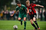 26 July 2020; Jordan Buckley of Usher Celtic in action against Conor Casserly of Gorey Rangers during the FAI New Balance Junior Cup Quarter-Final match between Usher Celtic and Gorey Rangers at Grangegorman IT in Dublin. Competitive Soccer matches have been approved to return following the guidelines of Phase 3 of the Irish Government's Roadmap for Reopening of Society and Business and protocols set down by the Soccer governing authorities. With games having been suspended since March, competitive games can take place with updated protocols including a limit of 200 individuals at any one outdoor event, including players, officials and a limited number of spectators, with social distancing, hand sanitisation and face masks being worn by those in attendance among other measures in an effort to contain the spread of the Coronavirus (COVID-19). Photo by Sam Barnes/Sportsfile
